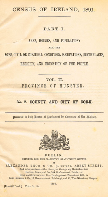 1891: County and City of Cork Census of Ireland statistics at Whyte's Auctions