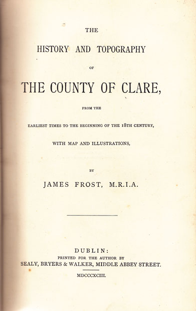 1893: The history and topography of the County of Clare at Whyte's Auctions