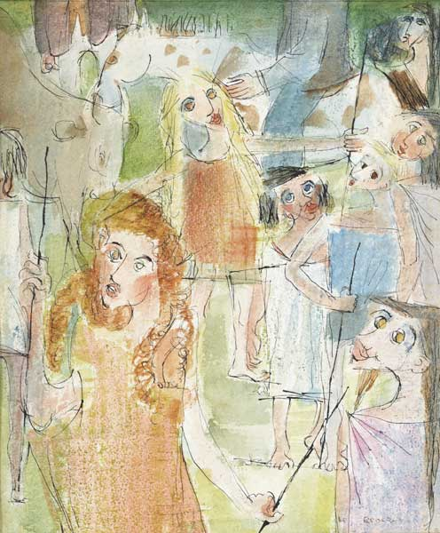 TINKER CHILDREN AT A FAIR, 1946 by Louis le Brocquy HRHA (1916-2012) at Whyte's Auctions