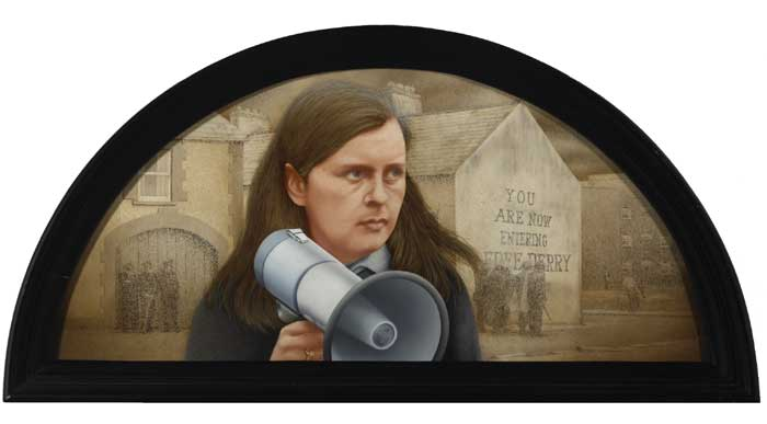 BATTLE OF THE BOGSIDE, PORTRAIT OF BERNADETTE DEVLIN, 1999 by Robert Ballagh sold for �8,000 at Whyte's Auctions