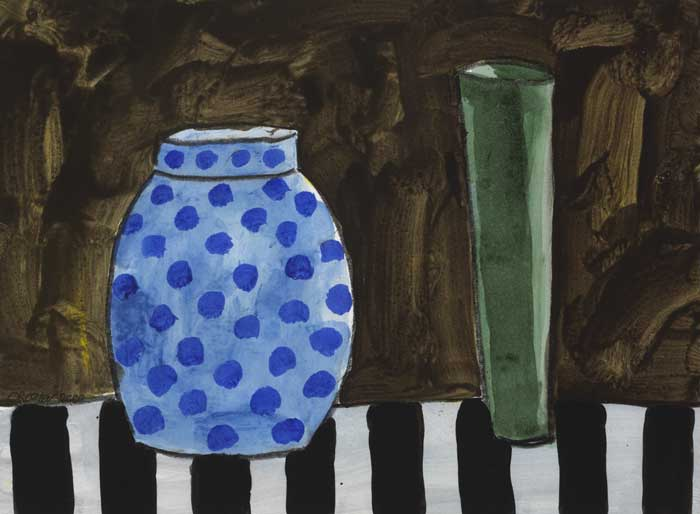 STILL LIFE WITH BLUE POLKA DOT VASE AND GREEN FLUTE VASE, 2002 by William Crozier HRHA (1930-2011) at Whyte's Auctions