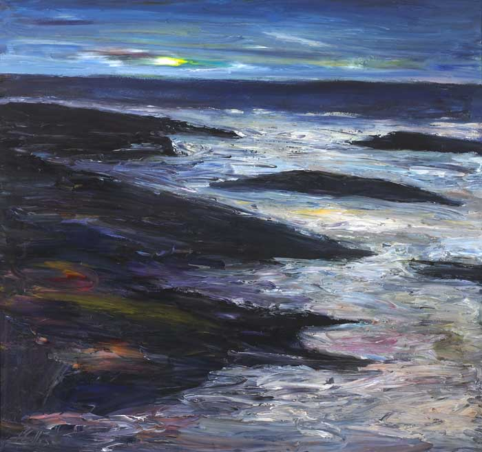 COASTAL LANDSCAPE BY MOONLIGHT by Peter Collis RHA (1929-2012) at Whyte's Auctions