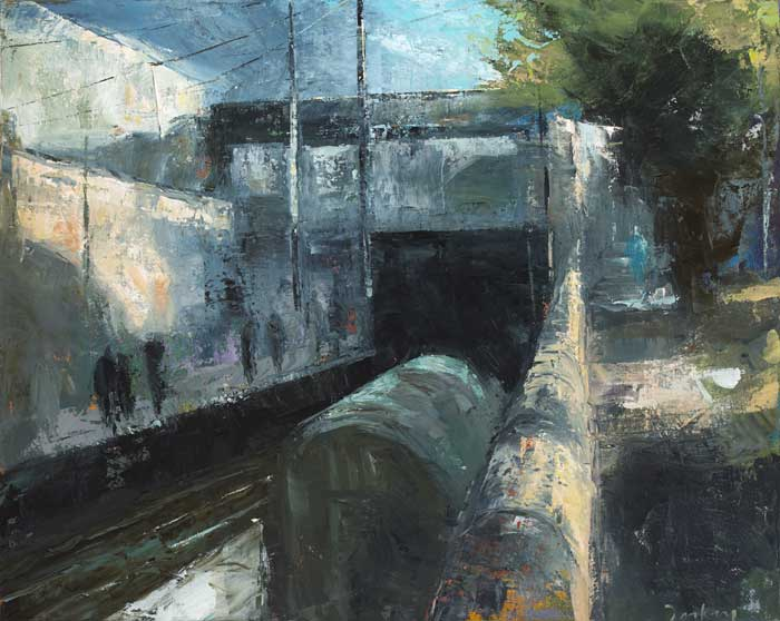 TRAIN STATION AT DUN LAOGHAIRE, 2002 by Donald Teskey sold for �8,000 at Whyte's Auctions
