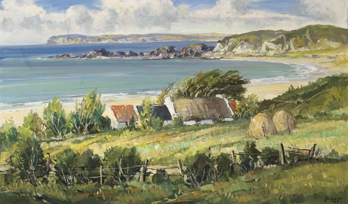 RATHLIN ISLAND, WHITE PARK BAY, ANTRIM COAST by Rowland Hill ARUA (1915-1979) at Whyte's Auctions