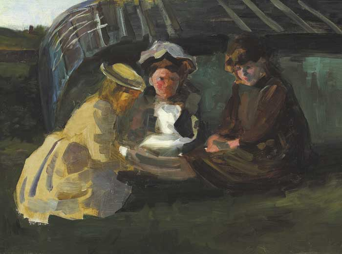 THREE GIRLS WINDING WOOL, 1887 by Walter Frederick Osborne sold for �14,000 at Whyte's Auctions