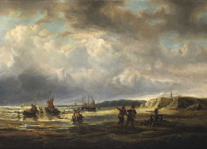 17th CENTURY STYLE SEASCAPE WITH FISHERMEN AND VESSELS, c.1880 at Whyte's Auctions