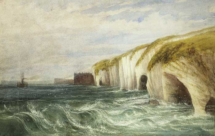 STEAMER OFF THE ANTRIM COAST WITH DUNLUCE CASTLE BEYOND by Andrew Nicholl RHA (1804-1886) at Whyte's Auctions