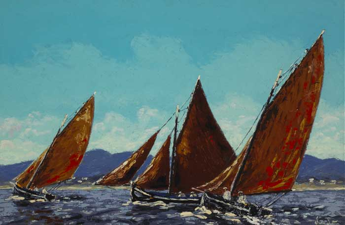GALWAY HOOKERS RACING IN ROUNDSTONE BAY, COUNTY GALWAY by Ivan Sutton (b.1944) at Whyte's Auctions