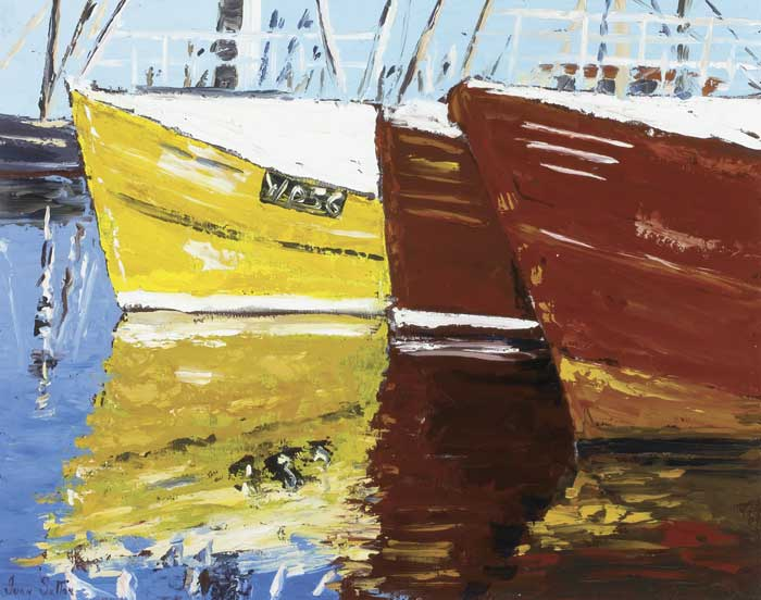 TRAWLERS BERTHED AT KILMORE QUAY, COUNTY WEXFORD, 2000 by Ivan Sutton (b.1944) at Whyte's Auctions