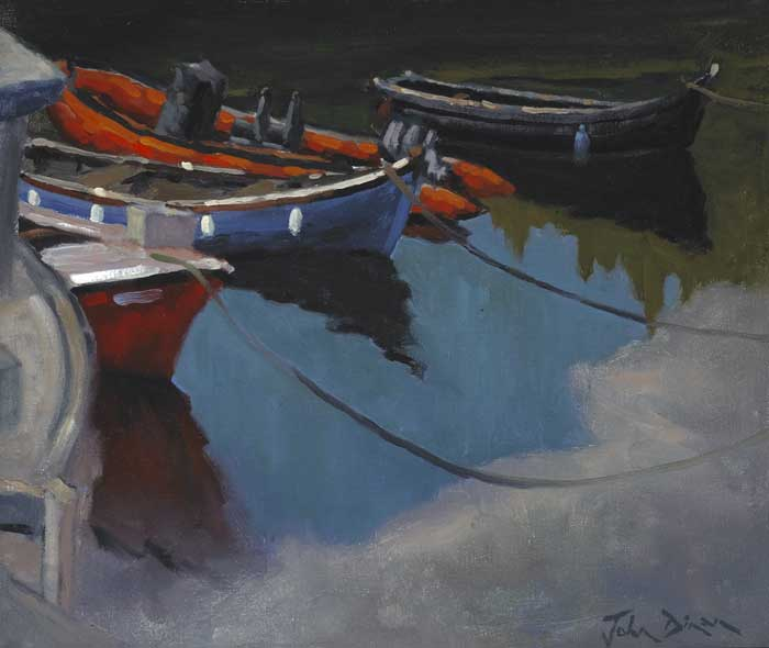 BOATS MOORED AT A HARBOUR by John Dinan  at Whyte's Auctions