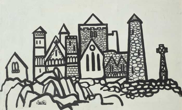 MONASTERY WITH ROUND TOWER AND HIGHCROSS by Markey Robinson (1918-1999) (1918-1999) at Whyte's Auctions