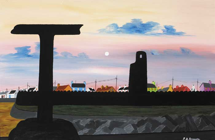 SAINT COLUMCILLE'S TOWER AND THE TAU CROSS by Patsy Dan Rodgers (b.1945) (b.1945) at Whyte's Auctions