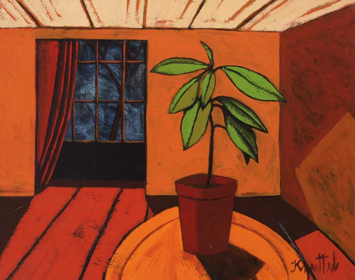 STILL LIFE, INTERIOR WITH POTTED PLANT by Graham Knuttel (b.1954) (b.1954) at Whyte's Auctions
