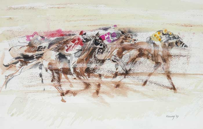 RACING, 1987 by Desmond Kinney (b.1934) at Whyte's Auctions