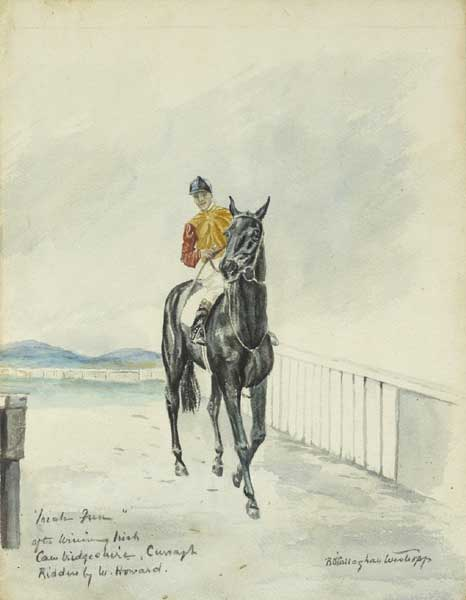 """INISH FREE"" AFTER WINNING IRISH CAMBRIDGESHIRE, CURRAGH, RIDDEN BY W. HOWARD by Rosemary O'Callaghan-Westropp (1896-1982) at Whyte's Auctions"