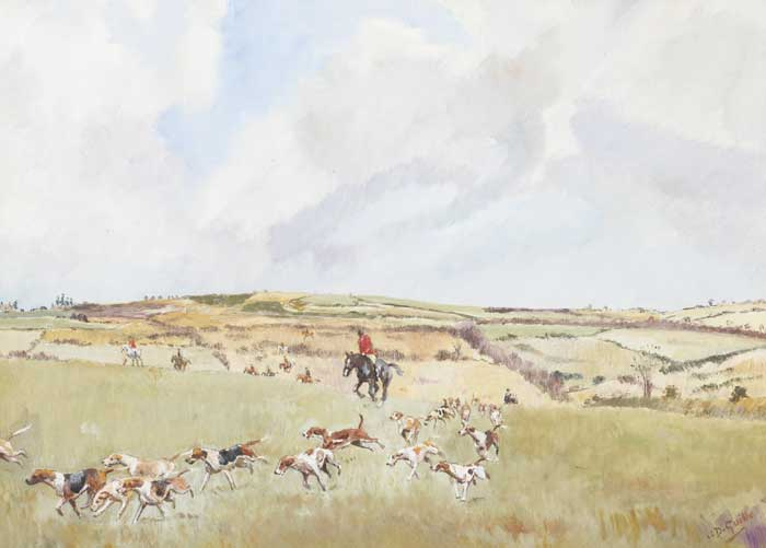 "COUNTY GALWAY HOUNDS (""THE BLAZERS"") and THE KILKENNY HOUNDS (A PAIR) by Captain J. D. Guille (Irish school, 20th century) at Whyte's Auctions"