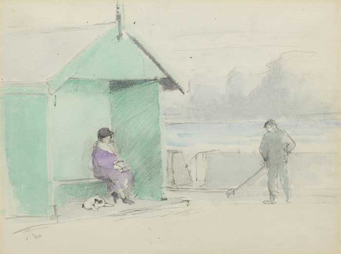 THE BEACH SHELTER, NEWCASTLE, c.1994 by Tom Carr HRHA HRUA ARWS (1909-1999) at Whyte's Auctions