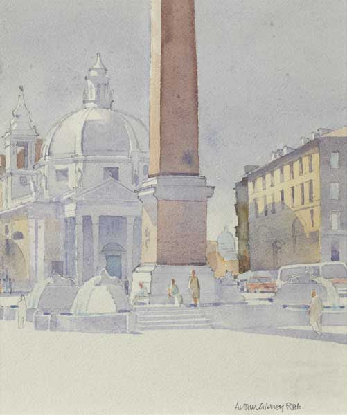 THE LION FOUNTAINS, PIAZZA DEL POPOLO, ROME by Arthur Gibney PPRHA (c.1933-2006) at Whyte's Auctions