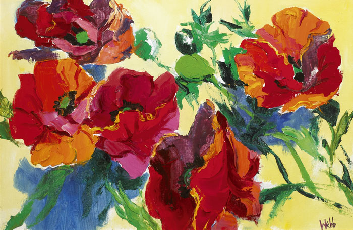 POPPIES ON YELLOW, c.1980s by Kenneth Webb RWA FRSA RUA (b.1927) at Whyte's Auctions
