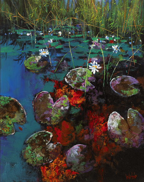 EVENING GLOW, BALLINABOY POND, c.2005 by Kenneth Webb RWA FRSA RUA (b.1927) at Whyte's Auctions