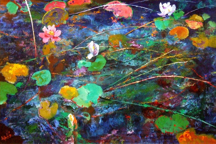 WATERLILIES, MARCONI POND, c.1970s by Kenneth Webb RWA FRSA RUA (b.1927) at Whyte's Auctions