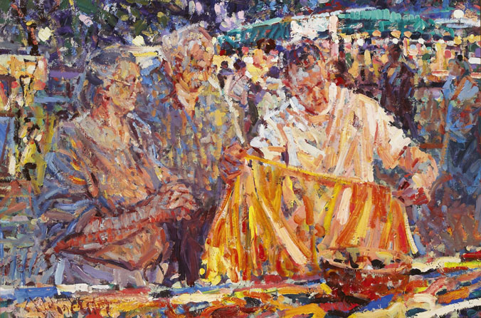 STUDY, NIGHT MARKET, LE VIGNAN, MIDI-FRANCE by Arthur K. Maderson (b.1942) at Whyte's Auctions