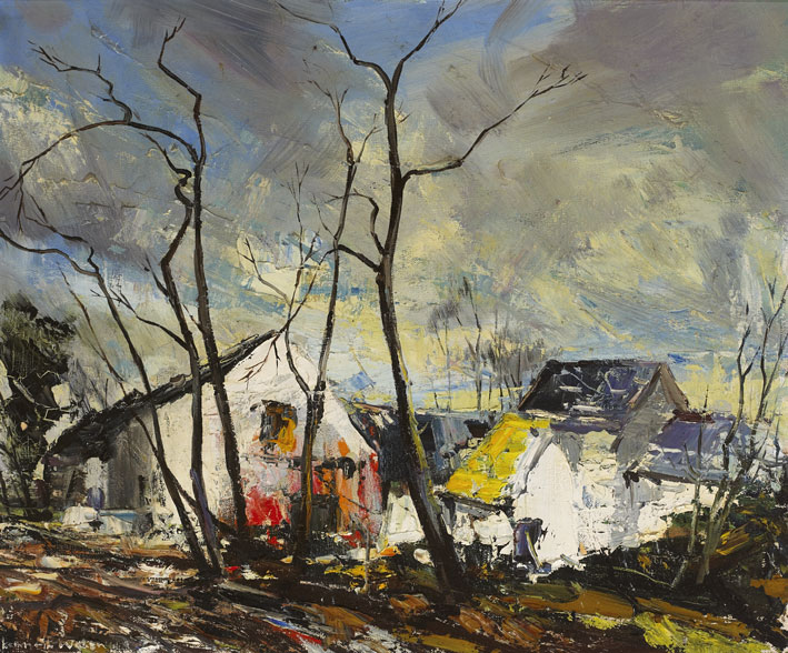 WHITE FARM BUILDINGS, NUTTS CORNER, BELFAST, c.1960s by Kenneth Webb RWA FRSA RUA (b.1927) at Whyte's Auctions