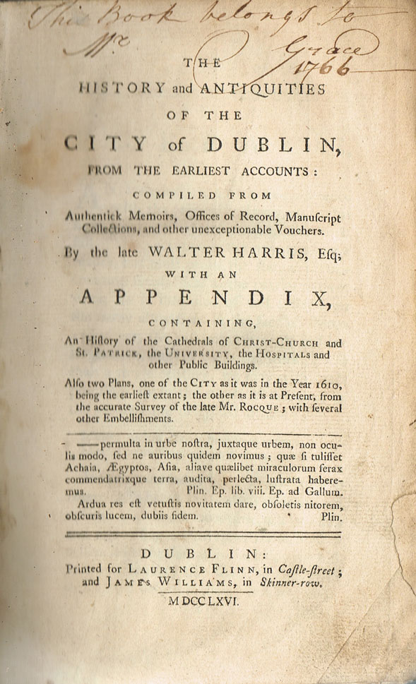 1766: The History and Antiquities of the City of Dublin by Walter Harris at Whyte's Auctions