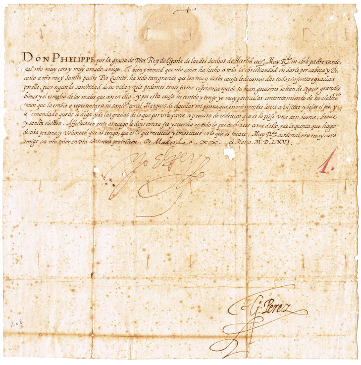 1566 (20 March) Important State letter issued by King Philip II of Spain to Cardinal Innocenzo del Monte. at Whyte's Auctions