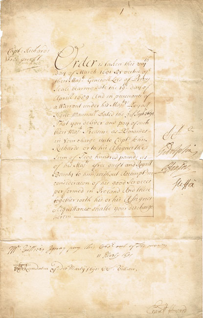 1691 (8 March) Williamite Wars bounty document to officer for 'good service in Ireland' at Whyte's Auctions