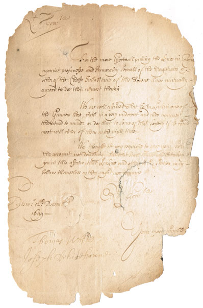1699 (12 December) Portsmouth Garrison letter relating to troop behaviour at Whyte's Auctions