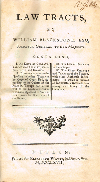 BLACKSTONE ( Sir Wm  )  Law Tracts … Containing, I  An essay on