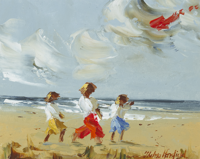 CHILDREN WITH A RED KITE by Thelma Mansfield (b.1949) at Whyte's Auctions