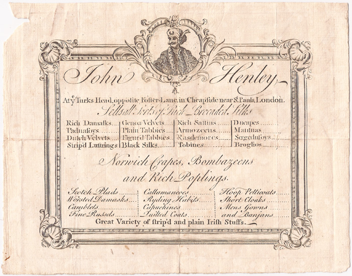 circa 1750: John Henley textile merchant advertisement handbill at Whyte's Auctions