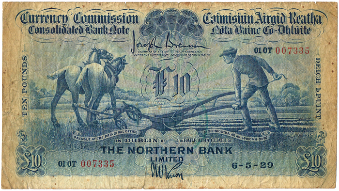 Currency Commission Consolidated Banknote 'Ploughman' Northern Bank Ten Pounds, 6-5-29 at Whyte's Auctions