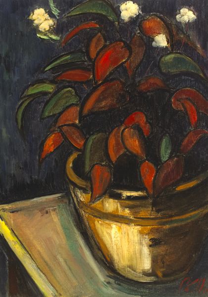 LARGE POT AND PLANT [BEGONIA] by Peter Collis RHA (1929-2012) at Whyte's Auctions