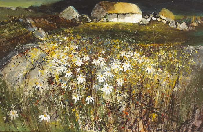 THATCHED COTTAGES AND WILD DAISIES by Kenneth Webb RWA FRSA RUA (b.1927) at Whyte's Auctions