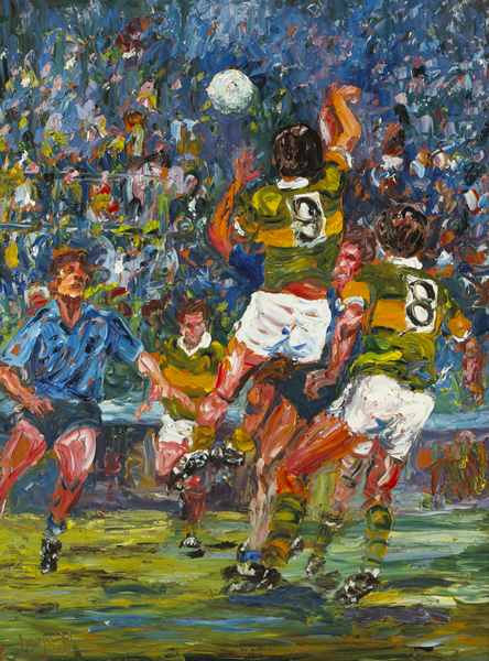 "THE CLASH OF THE TITANS"" [ALL IRELAND FOOTBALL FINAL, KERRY v DUBLIN, 1985]"" by Liam O'Neill (b.1954) at Whyte's Auctions"