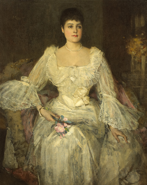 A LADY IN WHITE (A PORTRAIT OF LADY LYLE) by Sir John Lavery sold for �27,500 at Whyte's Auctions