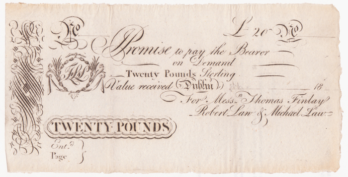 ThTh Century Irish Promissory Notes And Banking Receipts At