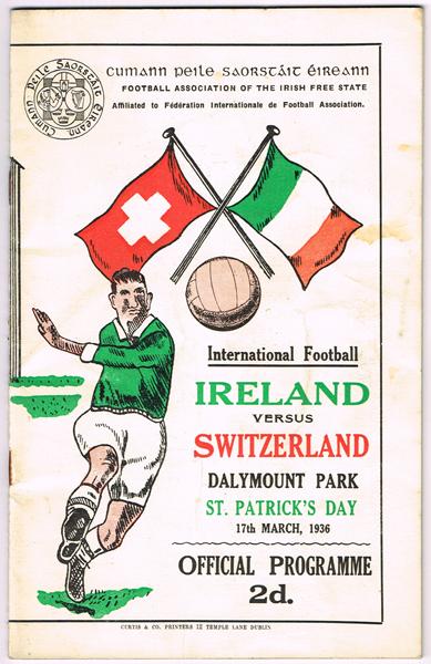 a64742a2d5799 Football. 1936 (17 March) Ireland v Switzerland match programme at ...