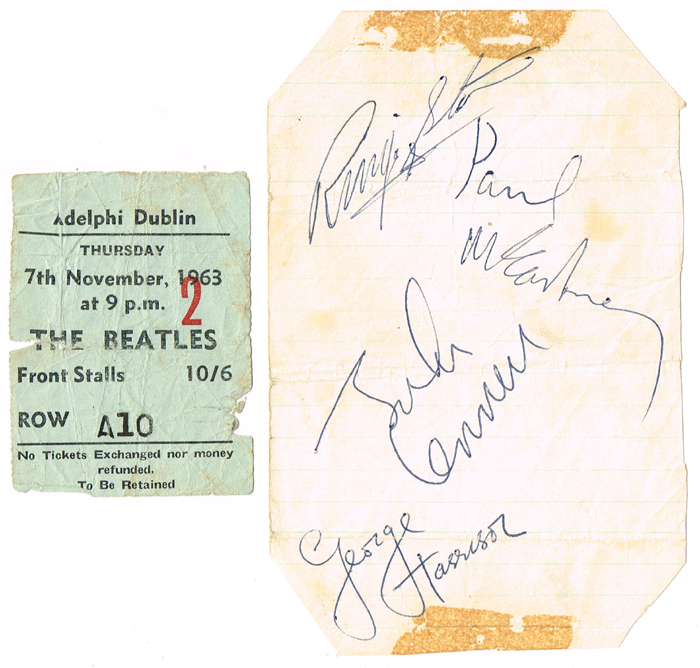 The Beatles. 1963 Dublin concert collection including autographs. at Whyte's Auctions