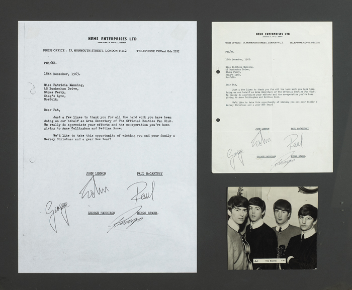 The Beatles: 1963 letter with four signatures created by Mike Aspinal at Whyte's Auctions
