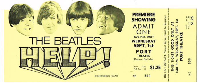 The Beatles: Help! movie premiere advanced ticket<R> at Whyte's Auctions