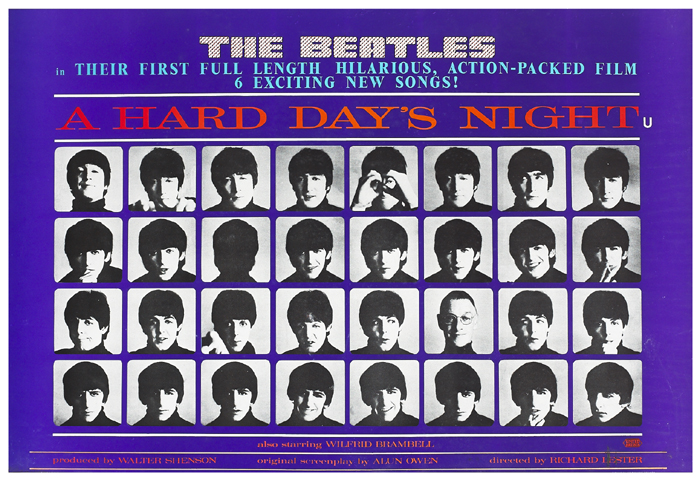 The Beatles. A Hard Day's Night movie poster. at Whyte's Auctions