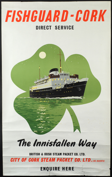 Fishguard to Cork steamer poster at Whyte's Auctions