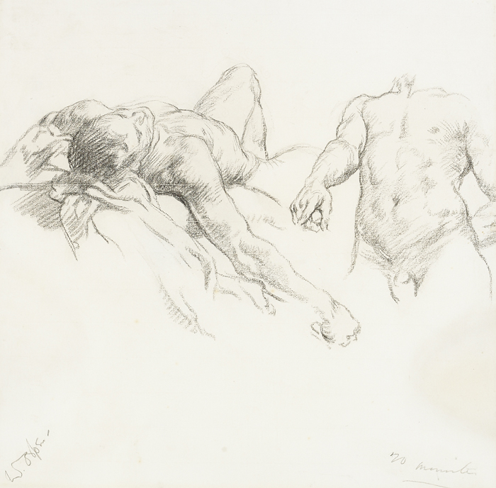 STUDY OF MALE NUDES by Sir William Orpen sold for �2,600 at Whyte's Auctions