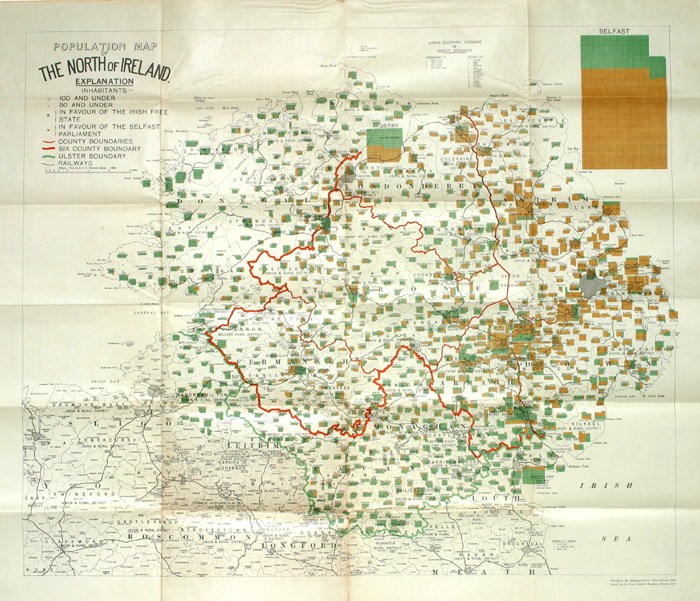 1923 Population Map Of The North Of Ireland Showing Population