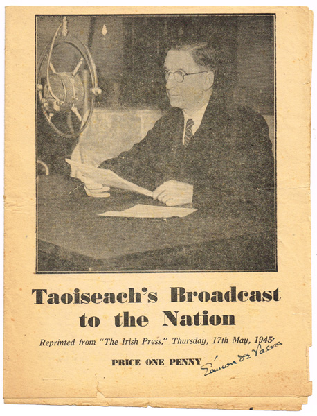1945 Taoiseach's broadcast signed at Whyte's Auctions | Whyte's