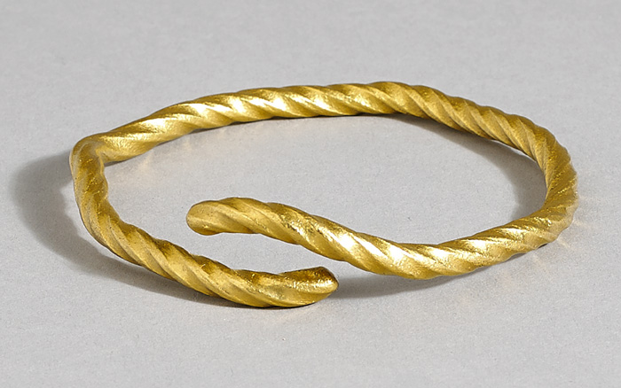 Circa 1200 to 500BC. Celtic twisted gold torc. at Whyte's Auctions